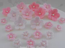 EDIBLE SUGAR FLOWERS CAKE DECORATIONS pink cupcake topper wedding birthday