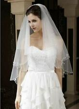 2 layer white ivory beaded edge Floral bride accessories wedding dress veil+comb