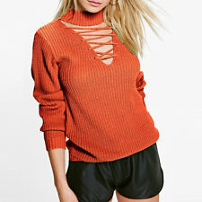 Women's Fashion Sexy Cut Out Lace Up Long Sleeve Pullover Tops Knitted Sweaters