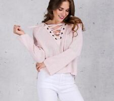 Women Flare Sleeve Knitted Sweater Lace Up V Neck Pullover Pink Jumpers