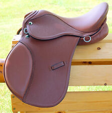 "14"" TAN All Purpose English EVENT JUMP Saddle / Leathers 36"" /48"" +Stirrup Irons"