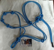 Rope Halter - 4 Noseband Knots- 5mm Stiff Rope - BLUE by Natural Equipment