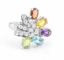 925 Sterling Silver Ring with Natural Citrine Emerald Blue Topaz Gemstones eBay