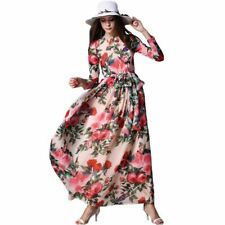 Women Fashion Floral Print Vintage Long-sleeved Round Collar Maxi Dress