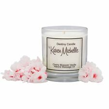 Vanilla Cherry Blossom Scented Massage Oil Candle - Destiny Candle with Jewelry