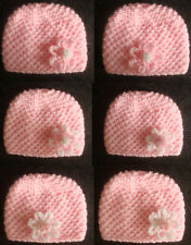 Hand Knitted Cute Pink Flower Baby Beanie Hat - Premature to 0-3 mth