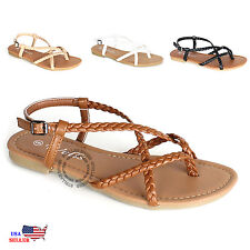 Womens Braided Strappy Gladiator Thong T Strap Flat Faux Leather Sandals