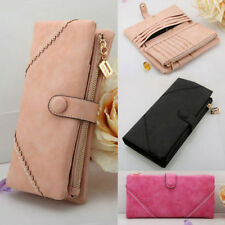 Fashion Women's Leather Wallet Bags Button Clutch Zipper Purse Lady Long Handbag