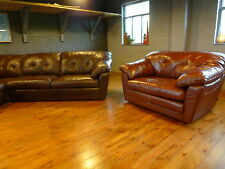 Harvey's Malbec love seat snuggler cuddler chair small sofa leather red brown