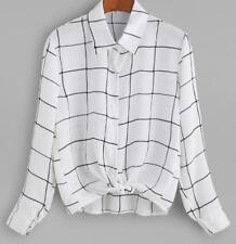 Fashion Womens Top Chiffon Long Sleeve Plaid lapel Sexy Long Shirts New