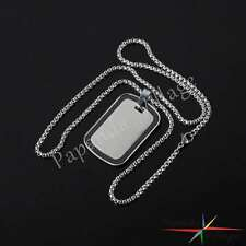 Military Dog Tag Mens Stainless Steel Pendant Ball Bead Chain Necklace Army Hot
