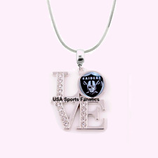 NFL Oakland Raiders 925 Sterling Silver Team Logo Love Necklace With Rhinestones