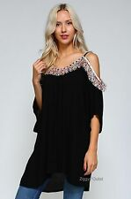 VELZERA PLUS 1X 2X 3X Black Solid Hippie Tunic Dress New Gypsy Bohemian Festival