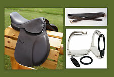 "12"" 13"" 15"" BROWN Close Contact EVENT Show Saddle Leathers 36"" Stirrup Irons 3pc"