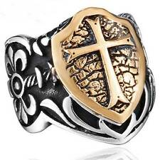 New Retro Cross Shield Stainless Steel Band Steampunk Silver Ring Jewelry Mens