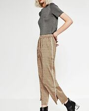 ZARA PRINTED IVORY GEOMET LOOSE-FIT TROUSERS NWT BLOGGERS Low rise Side pocket