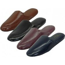 Men's Soft Vinyl House Slippers Brown Black Burgandy Blue Sizes 9-13 New