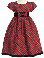 Girls Dress Red Plaid Christmas Holiday with Black Velvet Trim NWT Lito