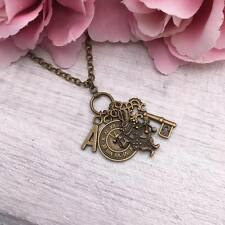 Personalised ALICE in WONDERLAND Necklace INITIAL Bronze Letter GIFT Idea Unique