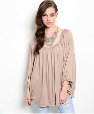 EDG SOLID MOCHA BROWN CASUAL RAYON SPANDEX DRAPE BATWING TOP BLOUSE S NEW