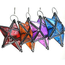 Glass Hanging Five-pointed Star Tea Light Holder Candle Lantern Deco Colorful GH