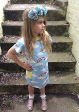 Girls Children's Kids Summer Cotton Rainbow T Shirt Skater Dress Outfit, 1-8 Yrs