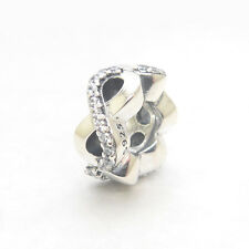 Genuine S925 Sterling Silver Infinite Love Clear CZ Spacer Bead Charm