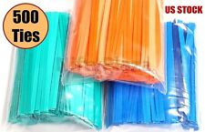 "500 Twist Ties 4"" Length Plastic Coated No Rip Paper Ties Cello General Use"