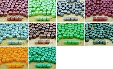 60pcs Pearl Imitation Small Cube Square Rounded Edge Spacer Czech Glass Beads 5m