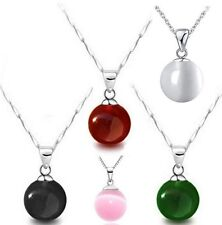 10mm Opal gemstone ball 925 sterling silver necklace moonstone pendant Gift D3