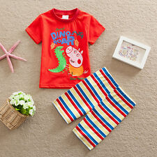 Lovely Peppa Pig George Boys Kids Short Sleeve & Shorts 2PC Birthday Outfit Sets