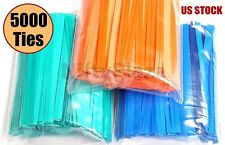 "5000 Twist Ties 4"" Length Plastic Coated No Rip Paper Ties Cello General Use"