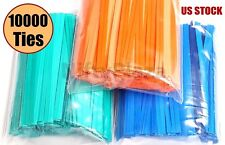"10000 Twist Ties 4"" Length Plastic Coated No Rip Paper Ties Cello General Use"