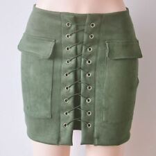 Women Leather Skirt Lace Up Vintage High Waist Preppy Pocket Short Pencil Skirts