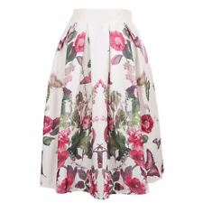 Women Summer Vintage Stain Floral Print Ball Gown Pleated High Waist Skirt