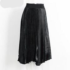 Women Black Long Skirt Winter High Waist Skirt Elastic Pink Skirt