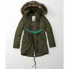 NWT ABERCROMBIE & FITCH WOMENS SHERPA-LINED MILITARY PARKA JACKET OLIVE SIZE L