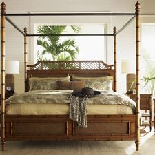 Tropical Style Canopy Bed Solid Wood Queen King Bedroom Furniture Four Poster