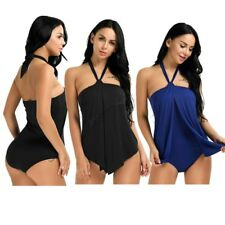Women Halter One-Piece Padded Tankini Swimsuit Monokini Swimwear Swimdress Split