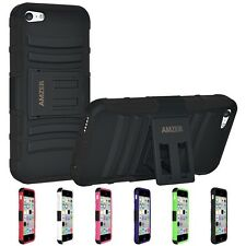 AMZER HYBRID RUGGED HARD RUBBER SOFT COVER CASE W/ KICKSTAND FOR APPLE IPHONE 5C