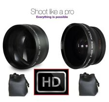 Hi Def 2-Pc Kit Wide Angle & Telephoto Lens Set For Sony Camcorder