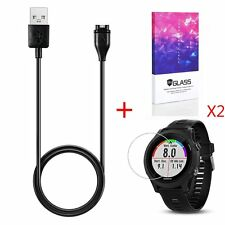 USB Charger Data Charging Cable for Garmin Forerunner 935 + 2 Screen Protector