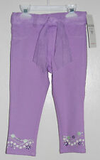 NWT Guess Infant Girls Lavender Purple Embroidered Jeans with Scarf Belt, sz 24M