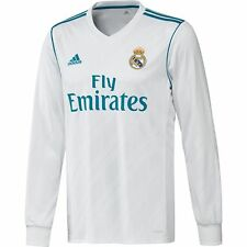 adidas Real Madrid 2017 - 2018 L/S Home Soccer Jersey Brand New White / Sky