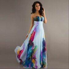 Off Shoulder Summer Women Bandeau Strappy Floral Long Maxi Dress Party Club Wear