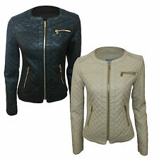 WOMENS LADIES LEATHER LOOK QUILTED SHORT FITTED SEXY ZIP UP BIKER JACKET NEW
