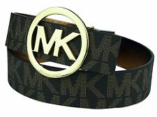 NWT Womens Michael Kors MK Signature Monogram Brown Belt & Gold Buckle 553342c