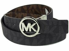 NWT Michael Kors Mk Signature Monogram Belt and Buckle Reversible Silver Buckle