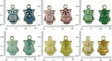 6pcs Czech Patina Antique Silver Tone Large Owl Bird Animal Charms Bohemian Meta