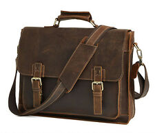 Vintage Genuien Leather Briefcase Attache Laptop Handbag Shouler Crossbody Bag